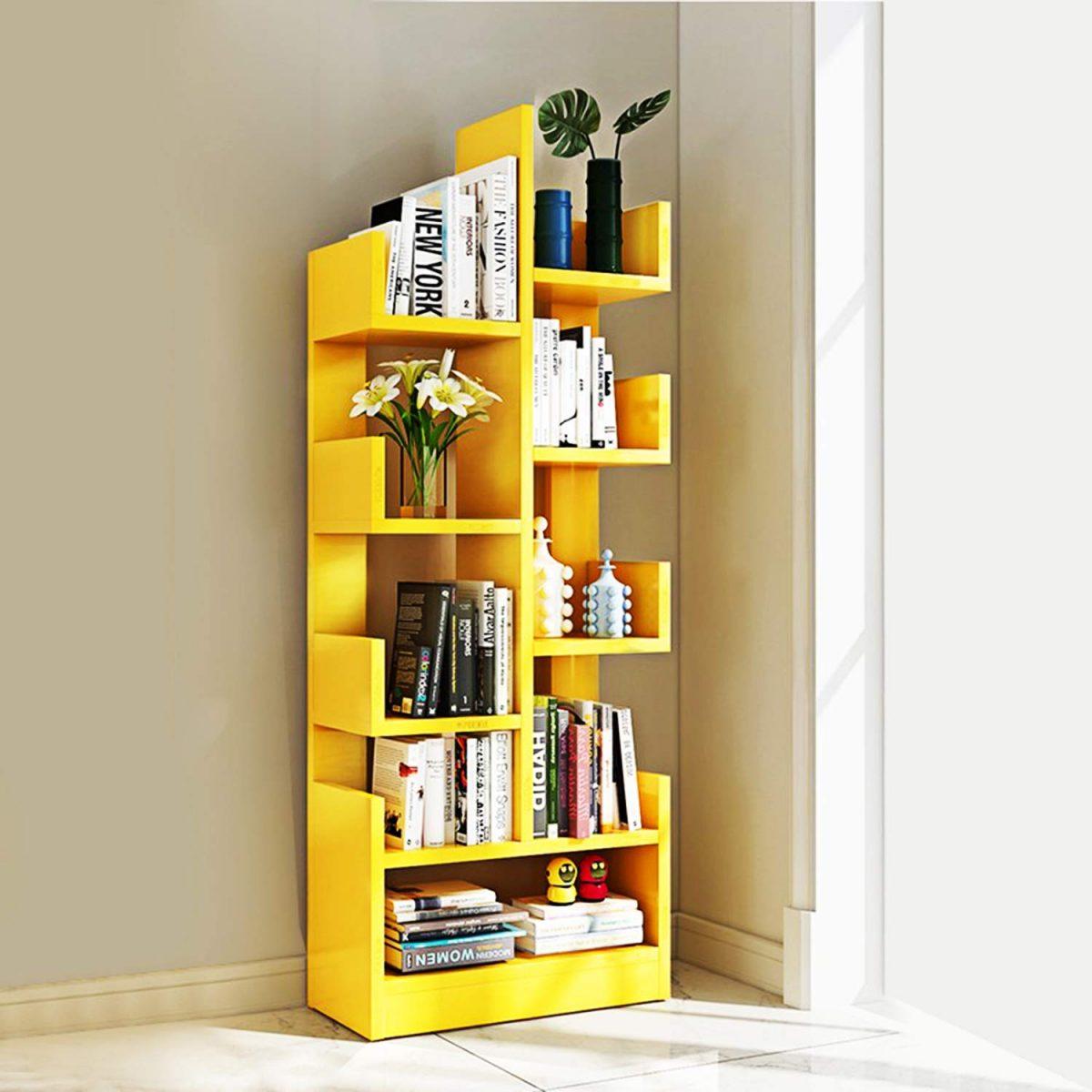 Book Storage Display Rack, Matte Yellow