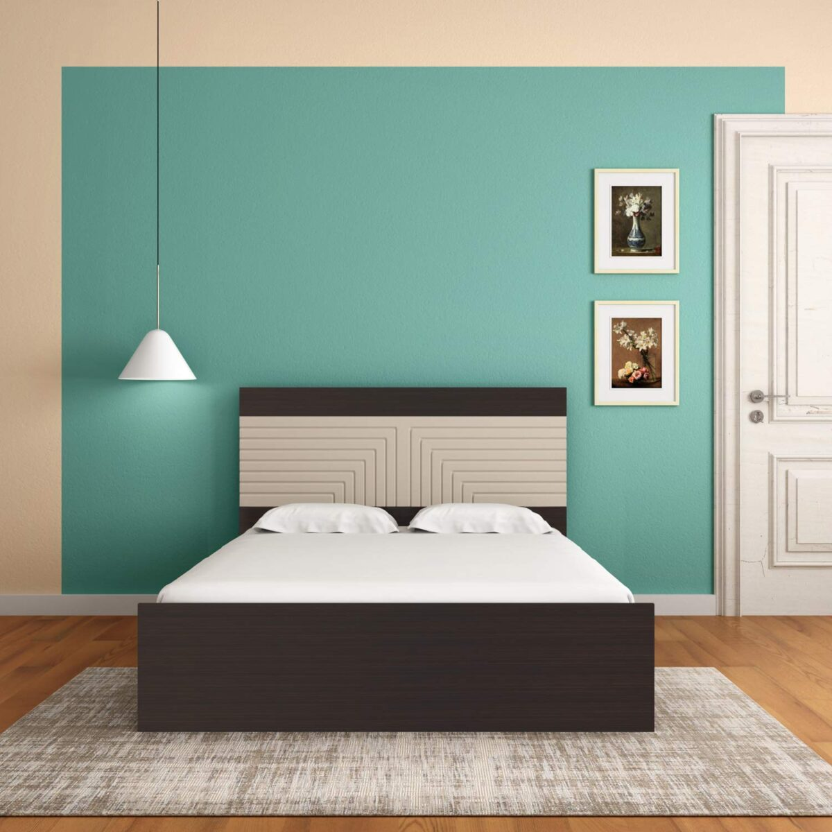 Queen MDF Bed With Storage - ( Brown)