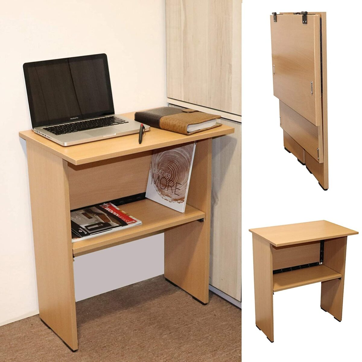 Work from Home Wood Folding Computer Table for Laptop Study Office Desk