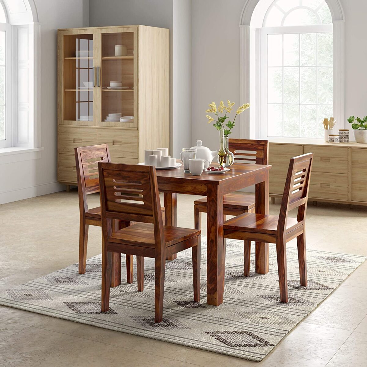 Sheesham Wood Dining Table 4 Seater Dining Table Set with 4 Chairs Dining Room Furniture Wood Dining Table 4 Seater