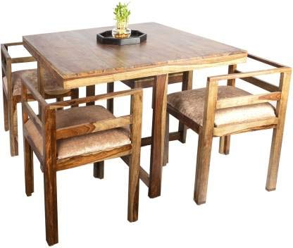 Sheesham Wood 4 Seater Dining Table in Natural Teak Finish for Dining Room & Home Furniture