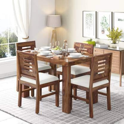 4 Seater Sheesham Wood Dining Table with Chairs