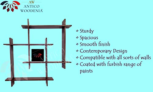 ANTICO WOODENIA® Extra Large Wooden Dual Square Wall Shelf  Wall Mount  Wall Rack  Wall Bracket  Wall Cabinet  Floating…