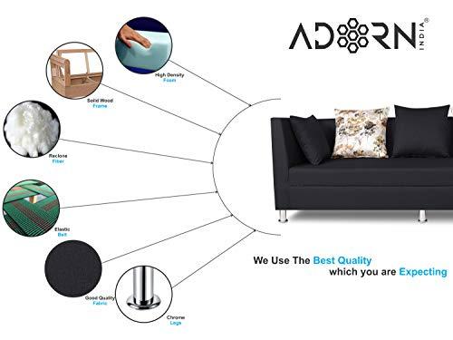 Adorn India Alica 3-1-1 5 Seater Sofa Set(Black)