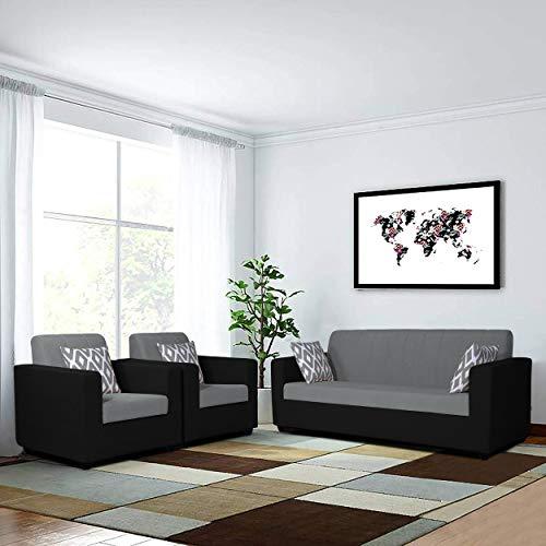 Adorn India Rio Wooden 3-1-1 5 Seater Sofa Set (Black & Grey)