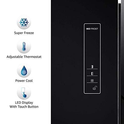 AmazonBasics 564 L Side-by-Side Door Refrigerator (Black Glass Door)