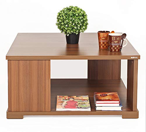 BLUEWUD Noel Engineered Wood Coffee Table/Centre Table with Shelves (Square - Walnut)