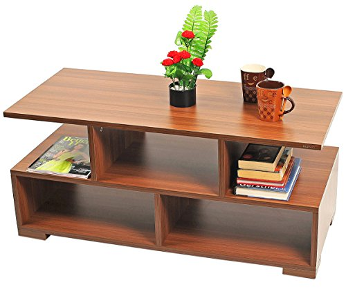 BLUEWUD Victor Engineered Wood Coffee Table/Centre Table with Shelves (Walnut)