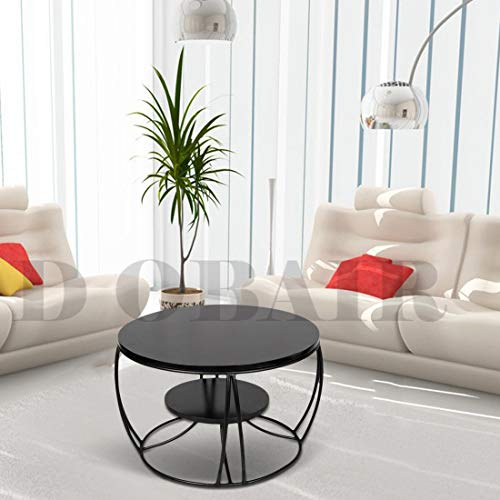 D Obair Modern Wood Metal Duplex Round Coffee Table | Nesting Center Coffee Table for Living Room (Black)- 24 x 24 x 18…