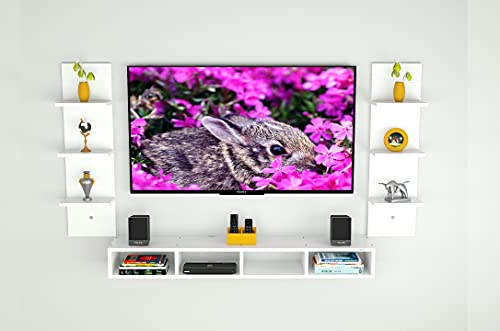DAS Bolivar High Strength & Durable Wall Mount TV Entertainment Unit/with Set Top Box Stand and 6 Wall Shelf Display…