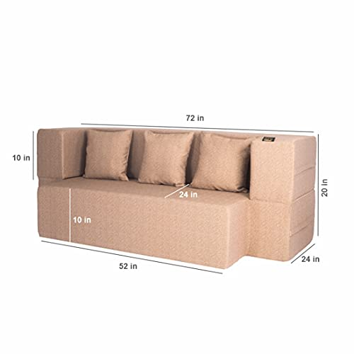 FRESH UP Revolve 3 Seater Foldable Sofa Cum Bed 4x6 Feet- Low Floor Seating- Seat Height 10 Inches- Polycotton Washable…