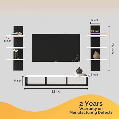 Furnifry Wooden TV Panel/TV Entertainment Unit with 2 Wall Shelf/Wall Set Top Box Shelf Stand/TV Panel for Wall/TV Panel…