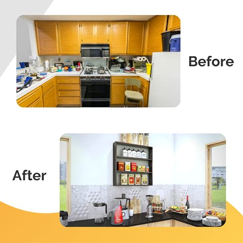Furnifry Wooden Wall Mounted Shelves for Kitchen / Kitchen Storage Shelf / Wall Shelf / Kitchen Shelf for Home / Kitchen…