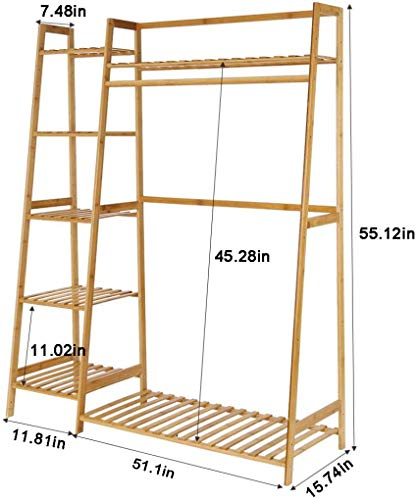 House of Quirk Bamboo Wood Garment Clothing Rack with 5 Tiers Storage Shelf Corner Hanging Rack (Ladder Design)- 130cm…