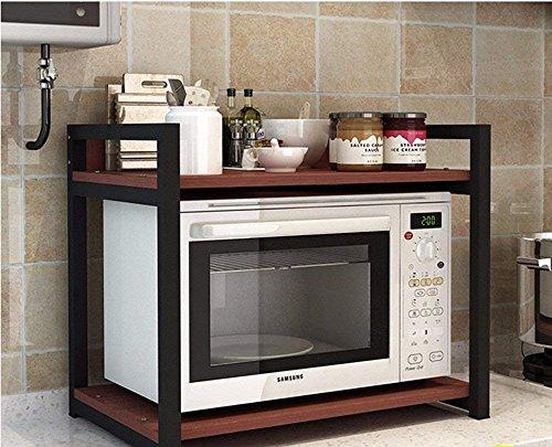 INDIAN DECOR 35222 Wooden Multi-Function Storage Microwave Shelf (Black)