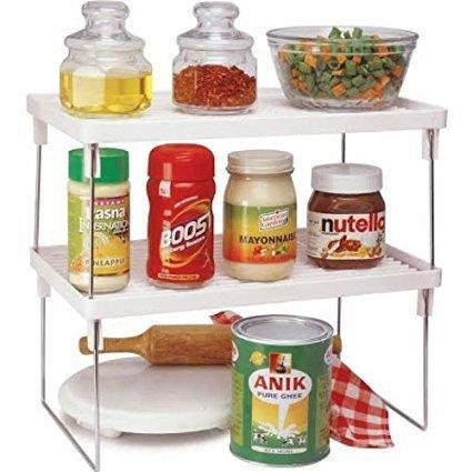 JVS™ Multi-Purpose 15.5X9.5X7.2, 2-Piece Office-Kitchen-Bathroom Stackable Racks Plastic Foldable Rack Storage Organizer…