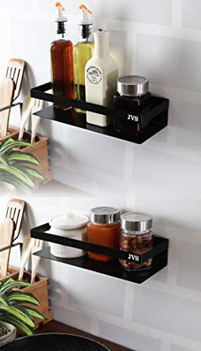 "JVS® Stainless Steel Kitchen Storage Multipurpose Wall Shelf Combo Set of-2(10"" & 14"")(Black)"