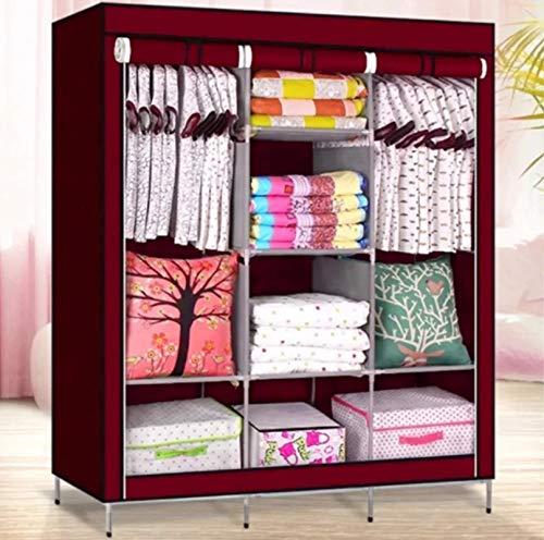 Lukzer 6 + 2 Layer Metal Portable Wardrobe Fabric Almirah Foldable Collapsible Closet/Cabinet 8 Shelves Multipurpose…