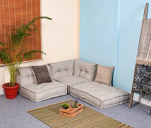 PRITI - Cotton Canvas Light Grey Folding Lazy Sofa Pillow New Modular Sofa Floor Chair,Living Room Interior Home…