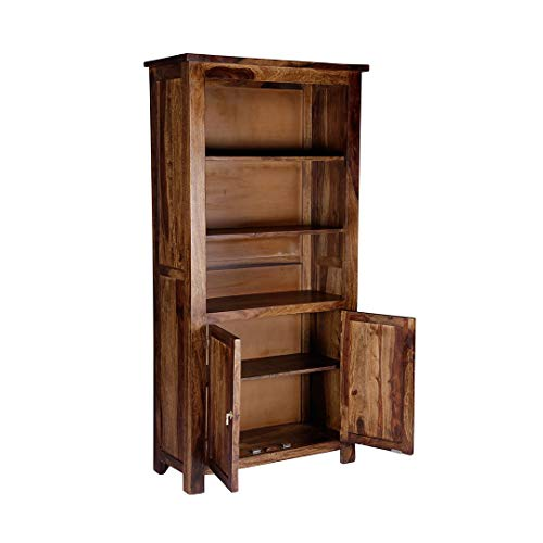 ROUNDHILL Sheesham Wood Bookshelf for Study Room with 3 Shelves & Cabinet Storage Wooden Display Rack Bookcase for Home…