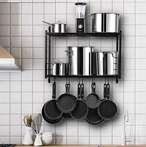 Tisany 2-Tiered Wall Mounted Pot Rack Multipurpose Pot Rack and Pans Organizer Storage with 20 S hooks