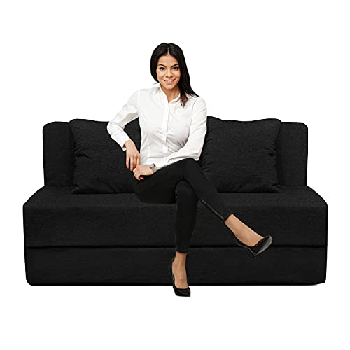 Urban Furnishing Sofa Cums Bed Furniture (4x6) Two Seater for Home & Living Room (Black)