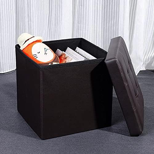 Whitecloud® Portable & Foldable Storage Stool for Living Room 38x38x38cm (731) Black