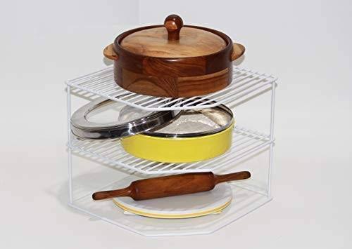 shiok décor ® Multipurpose Kitchen Plate Dish Corner Shelf Rack Stand Shelves Holder, Kitchen Tray pan Pot Utensils…