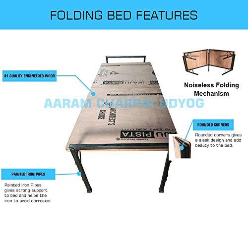 AARAM CHARPAI UDYOG Iron Folding Single Bed-(IRON_Brown)