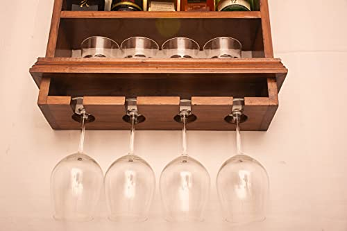 BEVERLY HOMEZ ® Wall Hanging Wooden Bar with inbuilt LED Light |Mini Bar Cabinets for Home | Solid Pinewood Make with…