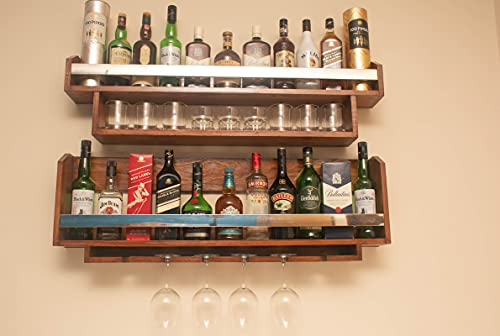 BEVERLY HOMEZ® Set of 2 Wall Mounted Mini Bar Racks/Cabinet with Glass and Bottle Shelf Detailing Chrome Bar to Front…