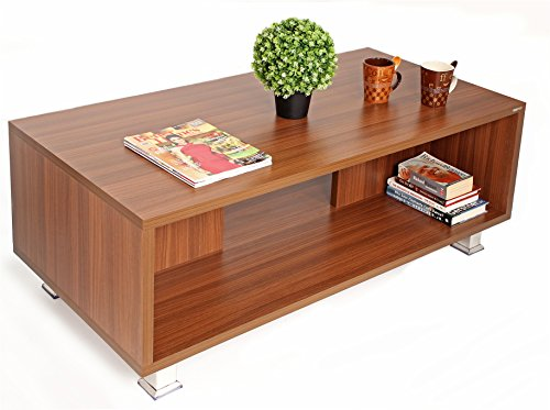 BLUEWUD Leo Engineered Wood Coffee Table/Centre Table with Shelves (Walnut)