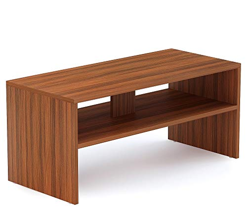 BLUEWUD Oliver Engineered Wood Coffee Table/Centre Table with Shelves (Walnut)