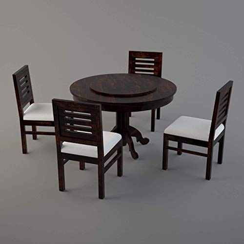 Baba Decor Sheesham Wood Round Top Dining Table Set with 4 Cushion Chair for Dining Room Living Room and Home (Mahogany…
