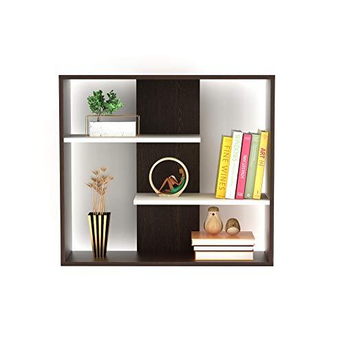 BLUEWUD Maxelle Wall Mounted Small Bookshelf (Frosty White and Wenge)