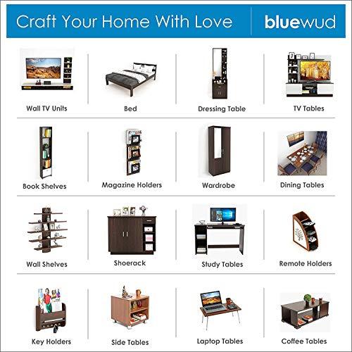 Bluewud Wolabey Ladder Style Engineered Wood Bookshelf (Frosty White & Wenge, Set of 5 Shelves)