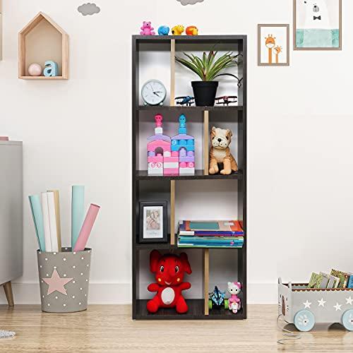 Casacrest DIY Wooden Bookshelf Display Rack Cabinet Storage for Home Decor Living Room Bedroom Study Room (121 x 50 cm)