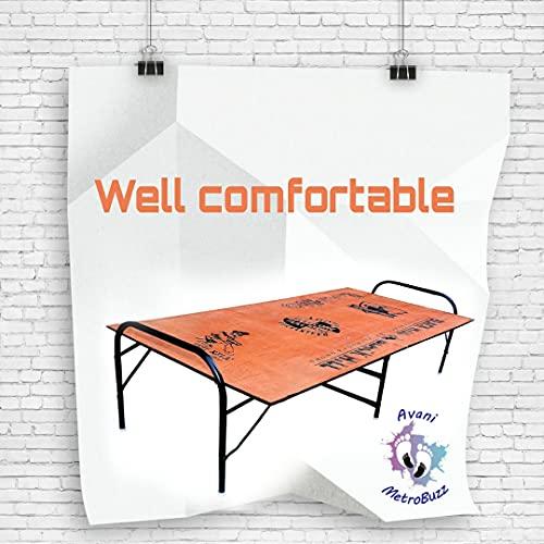 CreativeBuzz Heavy Duty Single Size Folding Bed Size 3 x 6   Iron Folding Bed   Wood Folding Bed for Household Purpose