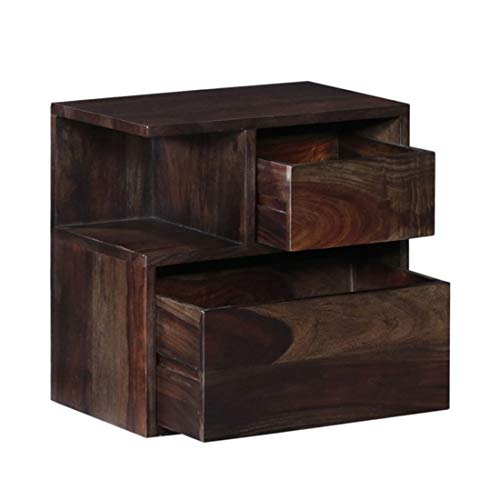 DriftingWood Wooden Bedside Table for Bedroom | Wooden Nightstand Lamp Table with 2 Drawer & Open Shelf Storage…