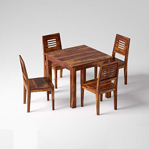 Eagle Furniture Wooden Solid Sheesham Wood Dining Table 4 Seater Dining Table Set with 4 Chairs Dining Room Furniture…