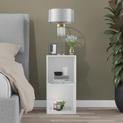 Furnifry Free Standing 2 Tier Side Table/End Table/Modern Style Bedside Table Decoration for Bedroom/Side Table for…