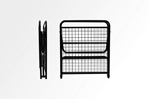 Homdec Aquila Fold-able Small Single Wrought Iron Metal Black Matte Bed Without Mattress (2.5ft x 6ft)