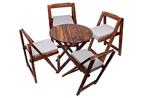 Home furniture Sheesham Wooden Patio Dining Set Foldable 4 Chairs and Round Table for Balcony Garden and Outdoor