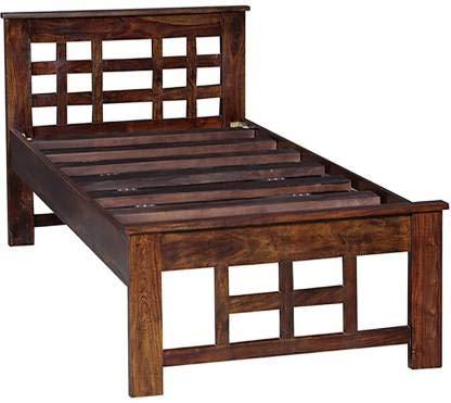 Kingwood Furniture Stuttgart Single Bed Without Storage in Sheesham Wood (Standard, Honey)