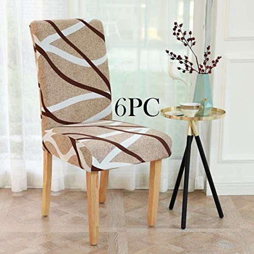 Lukzer 6PC Elastic Chair Cover (Beige Design) Stretch Removable & Washable Dining Chair Cover Protective Seat Slipcover…