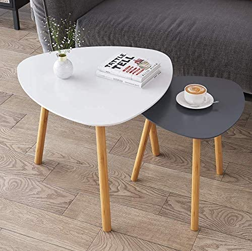 Mtank Nesting Coffee End Tables Modern Decor Side Table for Home and Office (White, Set of 2) (White+Grey) (White + Gray…