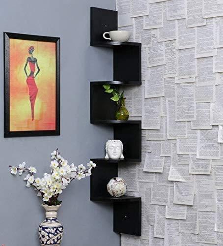 NR DECOR Corner Wall Shelfs Living Room Wall Shelves Book Shelf Wall Mount (Black)