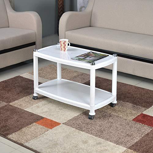 Nilkamal CENTBL5 Plastic Contemporary Center Table (White, Granite Black)