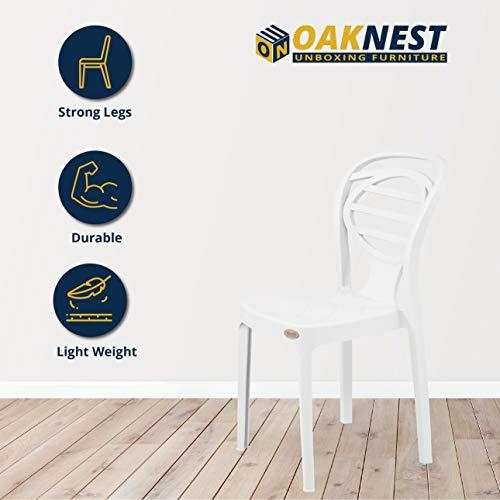 Oaknest Unboxing Furniture OAKNEST Supreme Oak Dining/Armless Designer Plastic Chair (Count: 4 Pc.  Color: Milky White)