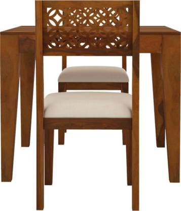 POOJA WOOD DECOR Solid Sheesham Wood 2 Seater Dining Table with 2 Fabric Cushioned Chair for Home & Office Furniture…